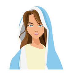 Cartoon cute virgin mary character nativity design vector