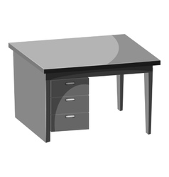 Computer desk icon gray monochrome style vector