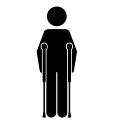 Crutches person isolated icon design vector