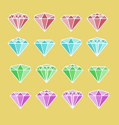 Diamond set Diamond stone Diamond jewels sign vector image