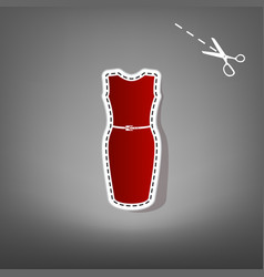 dress sign red icon with for vector image