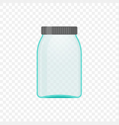 empty transparent jar for medical solution or vector image
