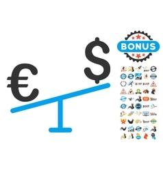 Euro Dollar Swing Icon With 2017 Year Bonus vector image