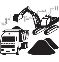 Excavator loads dump truck at construction site vector