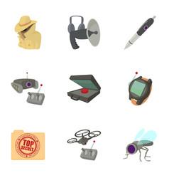 Fbi icons set cartoon style vector