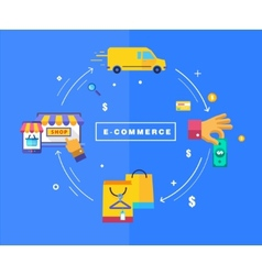 Flat design processing of online payments vector