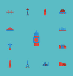 Flat icons london seattle japan and other vector