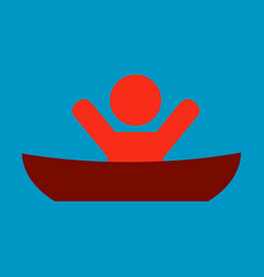 Flat male character - cartoon - man in a boat vector