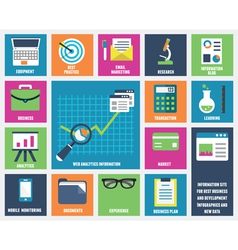 Flat web analytics information and development vector