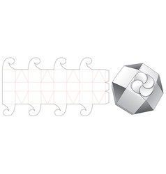 Folding octagon shaped box die cut template vector