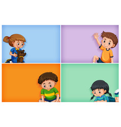 four background template designs with boys and vector image
