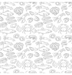 Hand drawn sea food seamless pattern vector