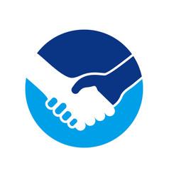 Handshake circle symbol logo design vector