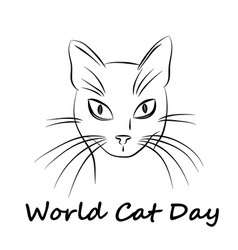 Happy cat day world cat day vector