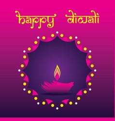 Happy diwali poster design using diya vector