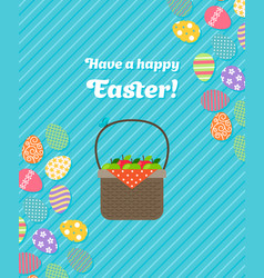 Happy easter blue greeting card vector