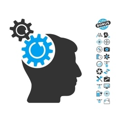 Head Cogs Rotation Icon With Air Drone Tools Bonus vector