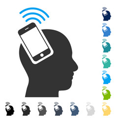 Head smartphone plugin ring icon vector