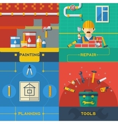 Home Repair 4 Flat Icons Composition vector image