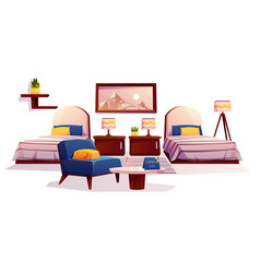 hotel bedroom furniture apartment interior stuff vector image