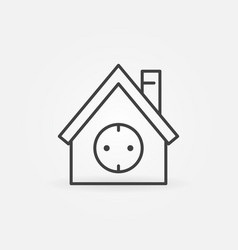 House with socket outline icon smart home vector