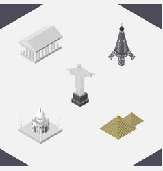 isometric cities set of athens india mosque vector image