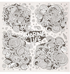 Line art set of marine life doodle designs vector