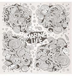 Line art set of marine life doodle designs vector