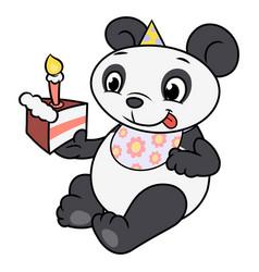 little panda eating birthday cake 2 vector image