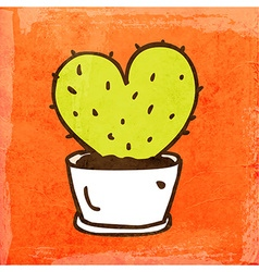 Love Heart Cactus Cartoon vector image