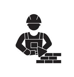 mason bricklayer black concept icon mason vector image