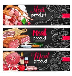 meat sausage chalk sketch banner for bbq design vector image