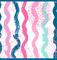 Mermaid pastel seamless pattern with ink brush vector