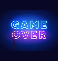 modern game over neon sign with blue and pink glow vector image