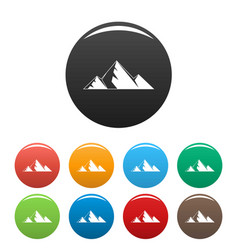 mountain peak icons set color vector image