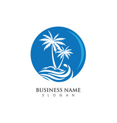 Palm tree summer logo template vector