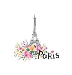 Paris background floral paris sign with flowers vector