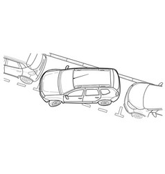 parking car line vector image