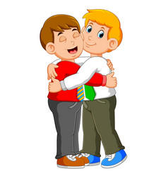 partners businessman in formal wear giving a hug vector image