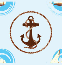 pattern 0104 1 sailing ship wave and an anchor vector image