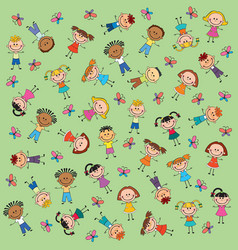 pattern kids green background butterfly vector image