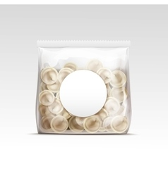 Pelmeni meat dumplings ravioli packaging vector
