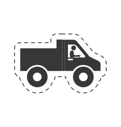 Pictogram man worker drive truck transport cutting vector