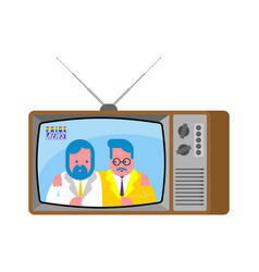 Pride news old television lgbt tv two guys vector