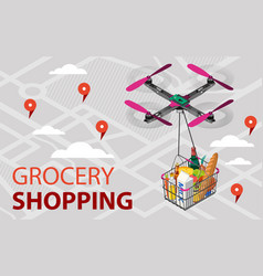Quadcopter with a grocery basket vector