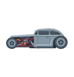 retro style race car old sports gray vehicle vector image