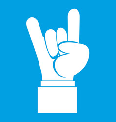 rock and roll hand sign icon white vector image