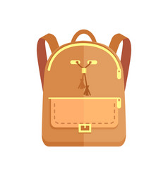 Rucksack fashionable model in beige color pocket vector