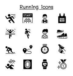 running competition icon set graphic design vector image