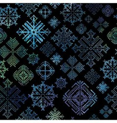 Seamless snowflake winter watercolor Christmas bac vector